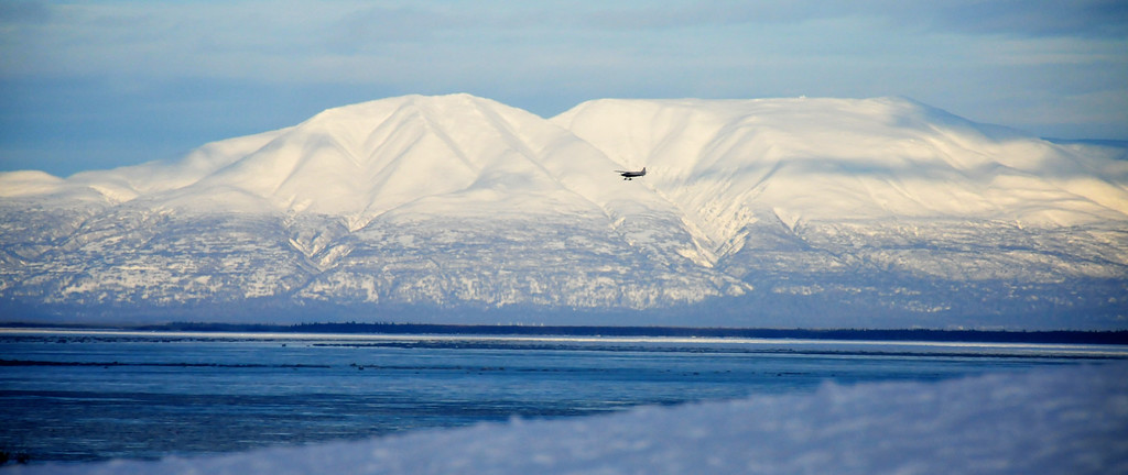 Small Plane Flies Over Cook Inlet - Anchorage, Alaska